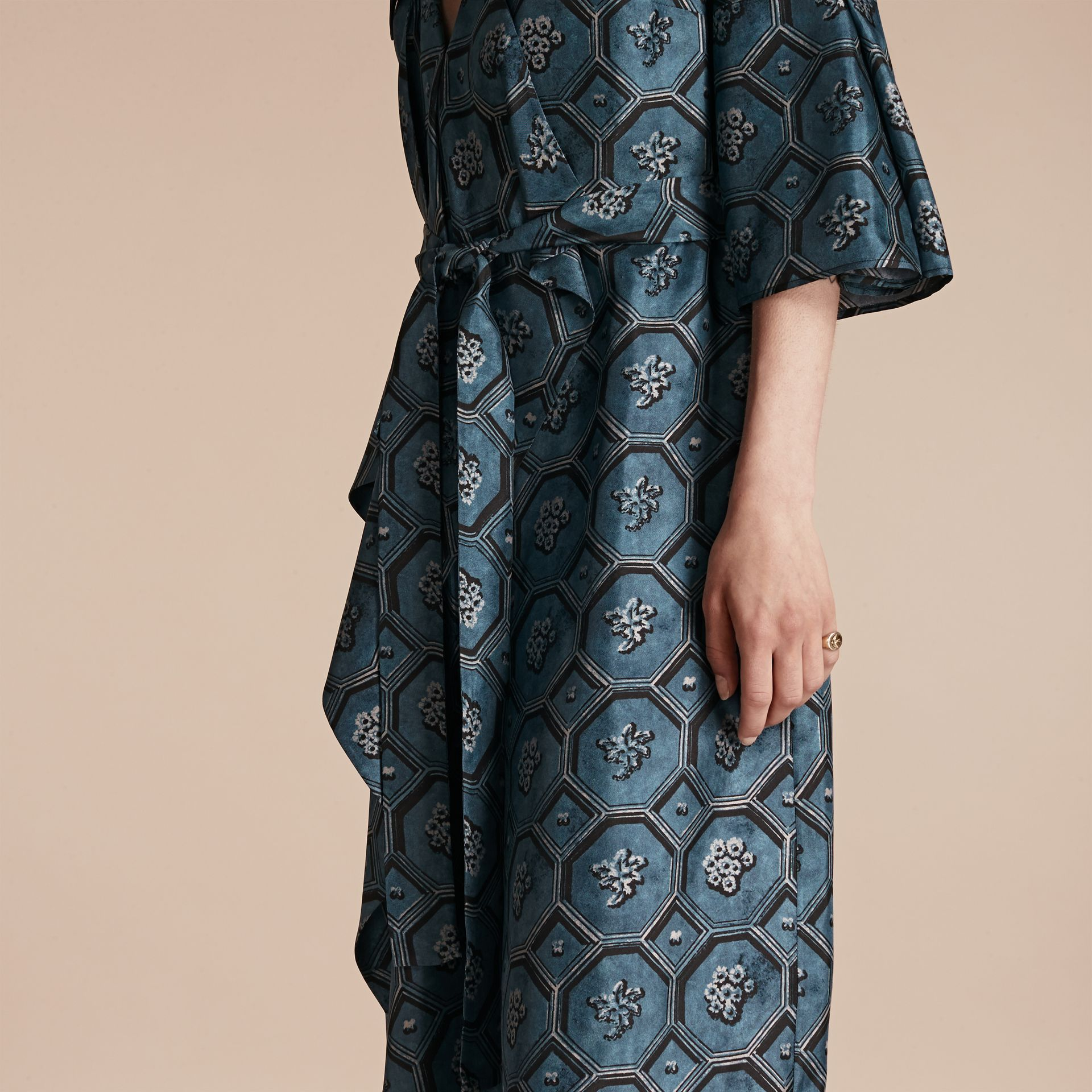 Dark mineral blue Wallpaper Print Silk Twill Wrap Trench Dress - gallery image 5