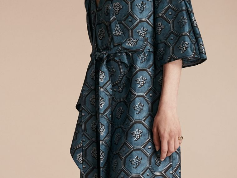 Dark mineral blue Wallpaper Print Silk Twill Wrap Trench Dress - cell image 4