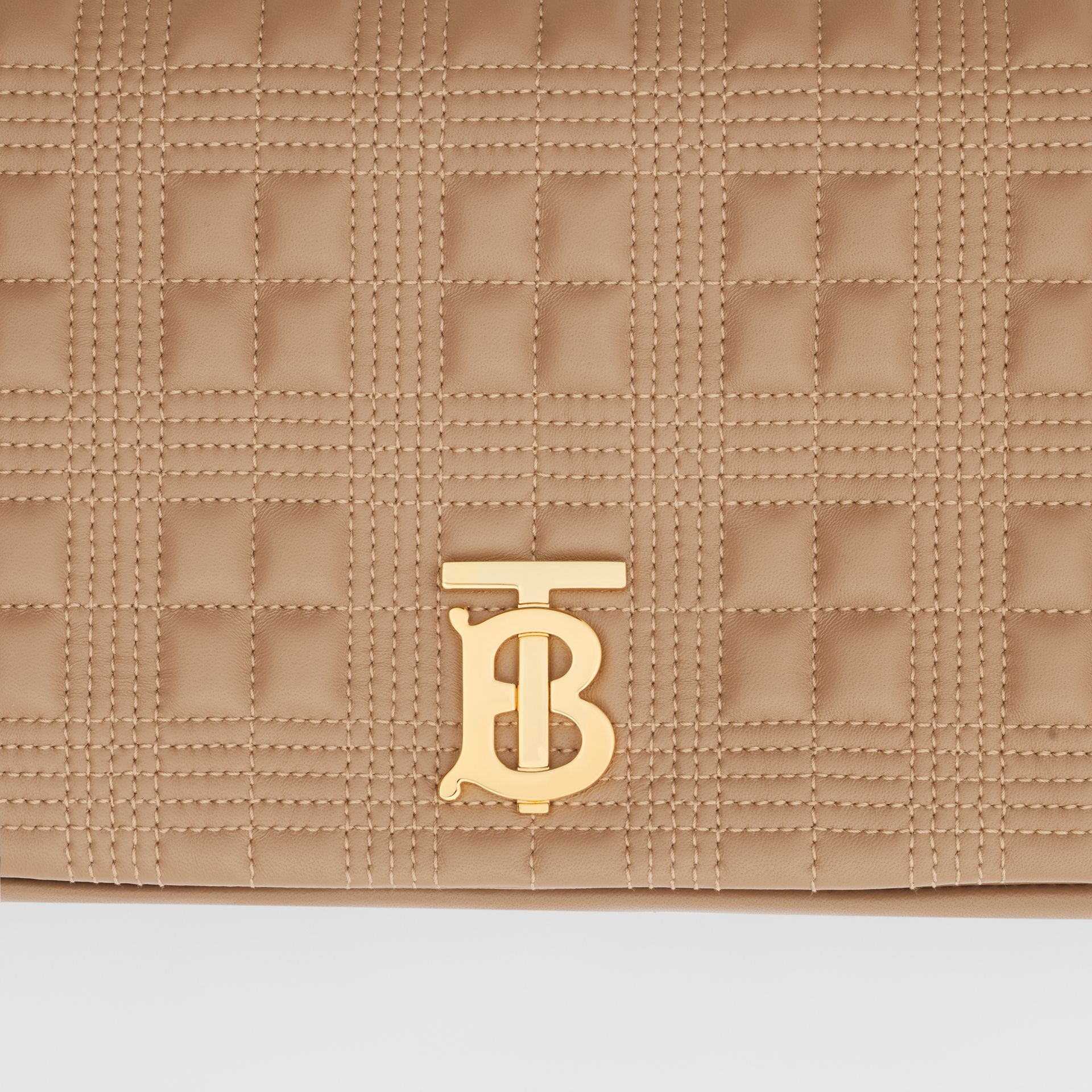 Medium Quilted Check Lambskin Lola Bag in Camel - Women | Burberry - gallery image 1