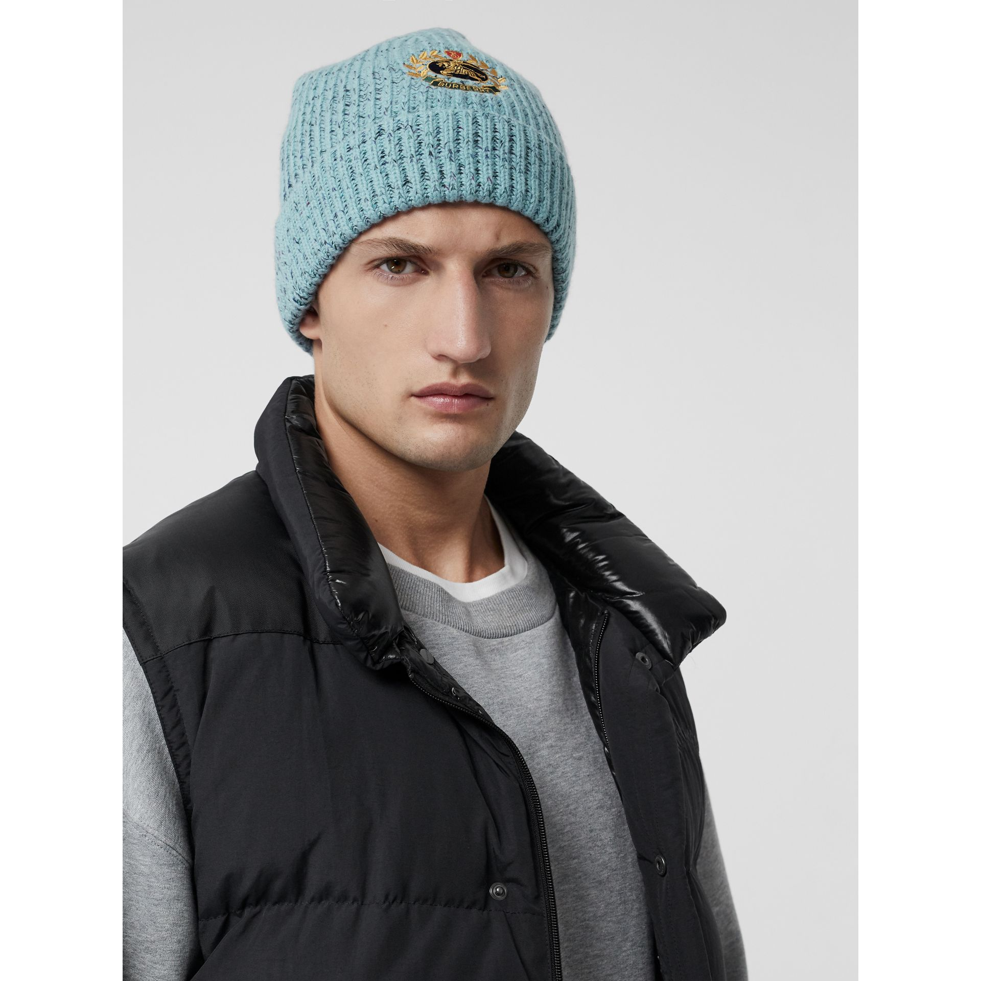 Embroidered Archive Logo Wool Blend Beanie in Blue Topaz | Burberry - gallery image 2