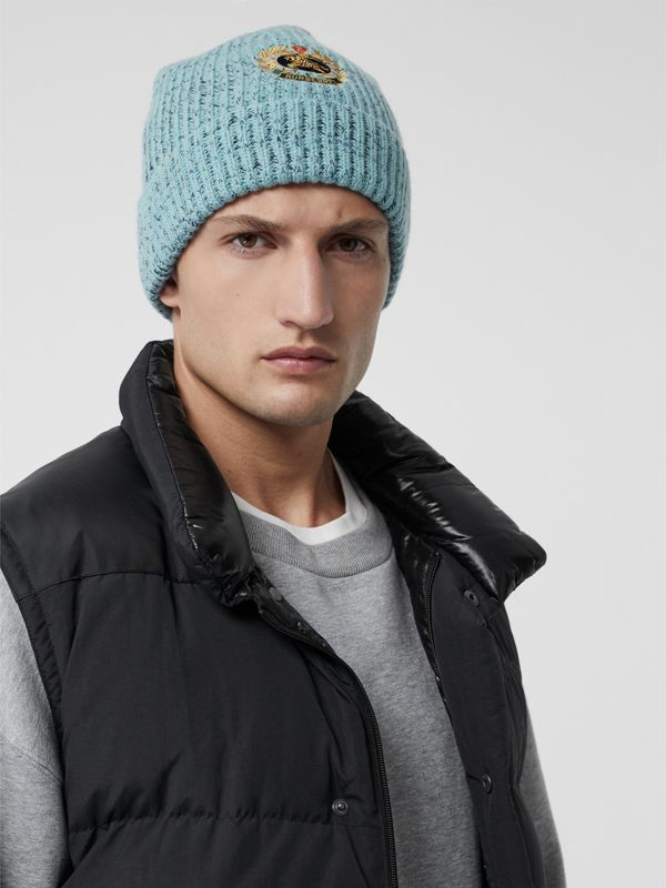 Embroidered Archive Logo Wool Blend Beanie in Blue Topaz | Burberry United Kingdom - cell image 3