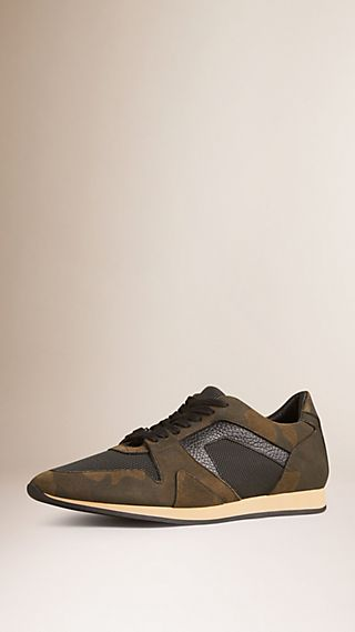The Field Sneaker in Camouflage Print Suede