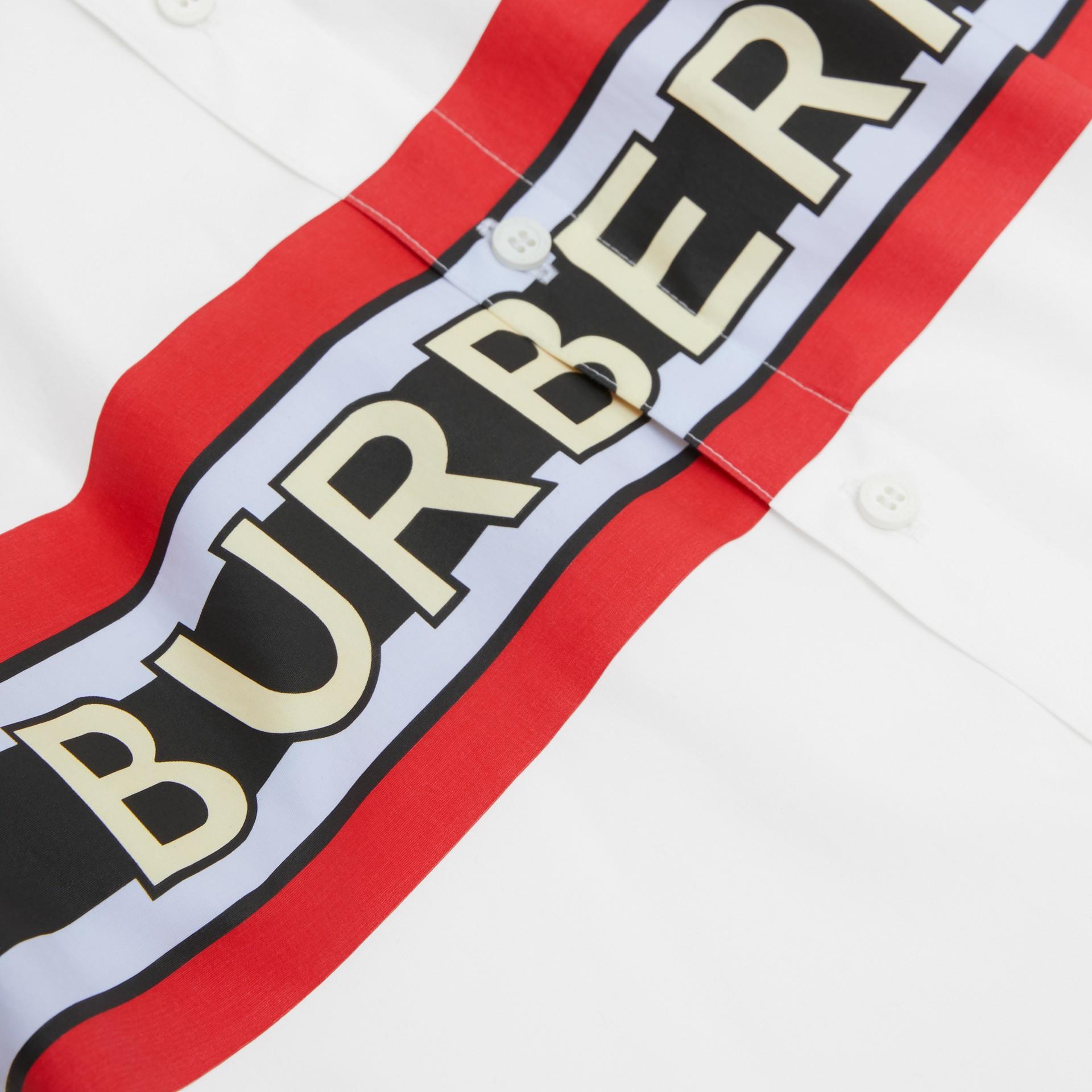Logo Print Stretch Cotton Poplin Shirt in White | Burberry - gallery image 1