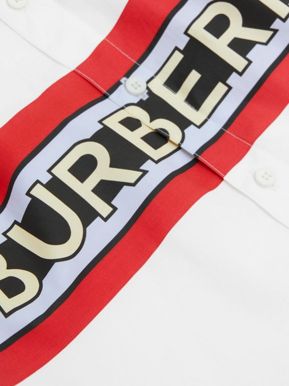 Logo Print Stretch Cotton Poplin Shirt in White | Burberry - cell image 1