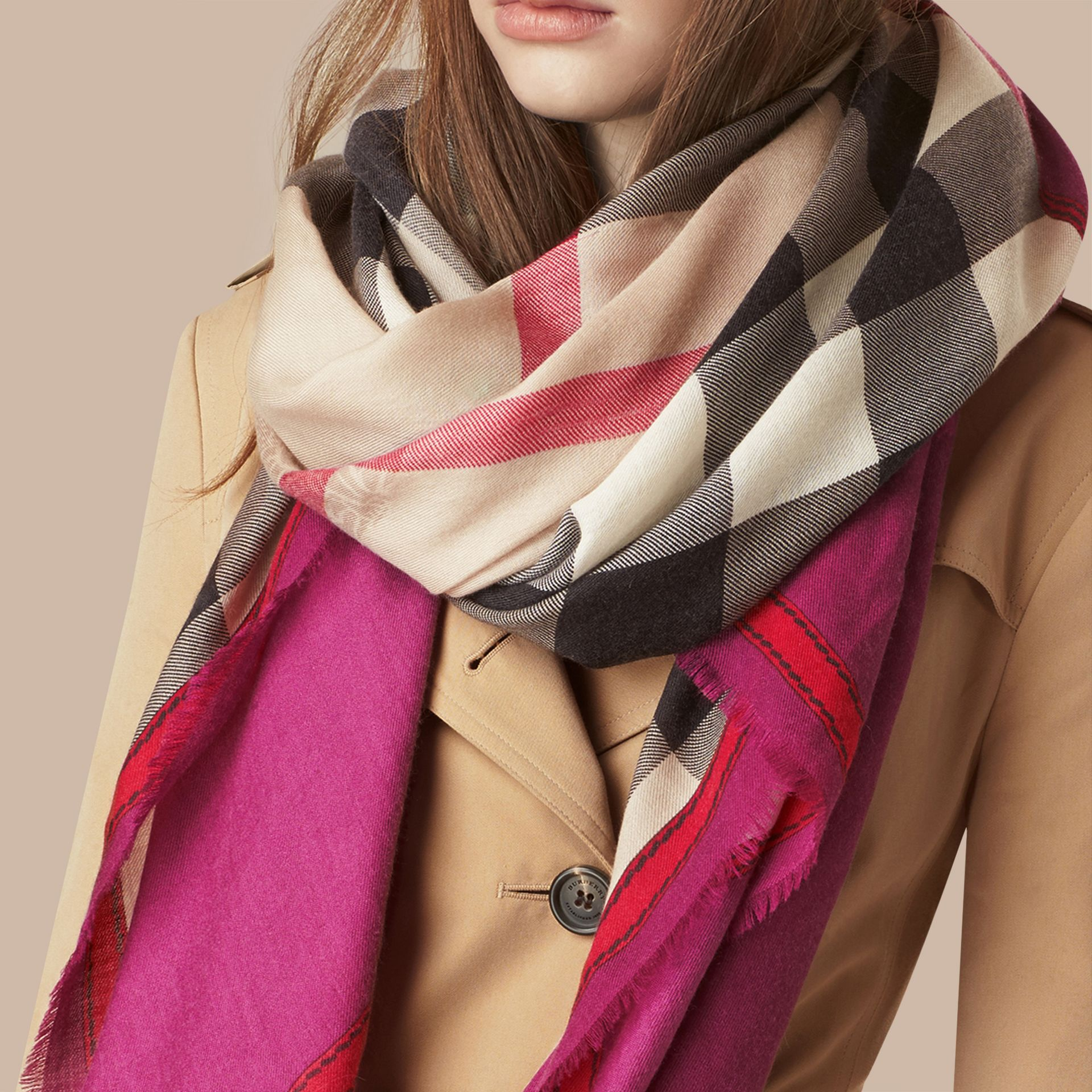 Magenta pink Contrast Border Horseferry Check Cashmere Scarf Magenta Pink - gallery image 3