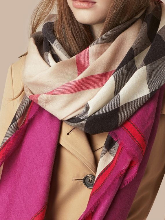 Magenta pink Contrast Border Horseferry Check Cashmere Scarf Magenta Pink - cell image 2