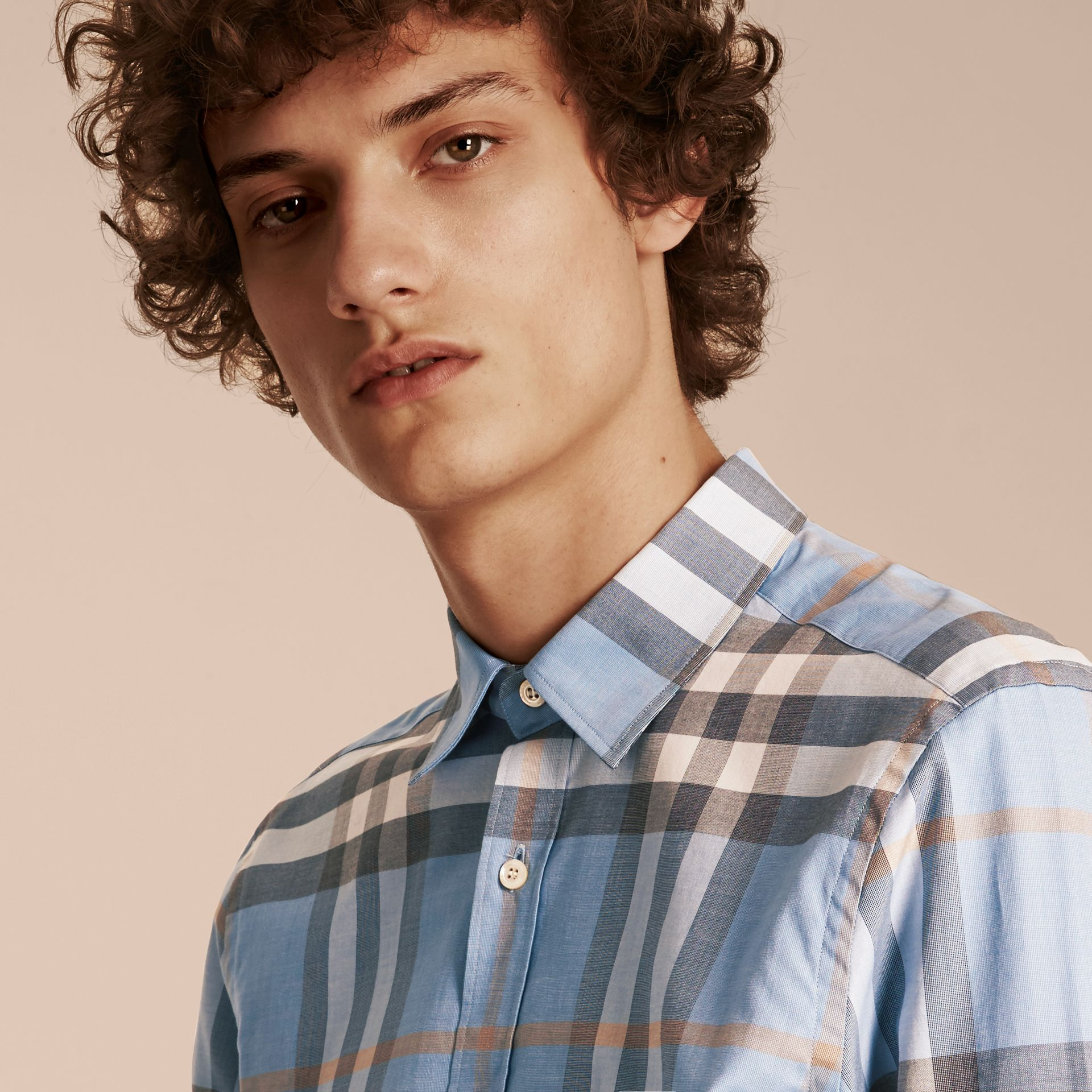 Check Cotton Oxford Shirt Cerulean Blue - gallery image 5