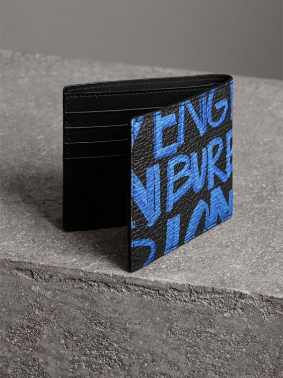 Graffiti Print Leather International Bifold Wallet in Blue/black - Men | Burberry - cell image 2