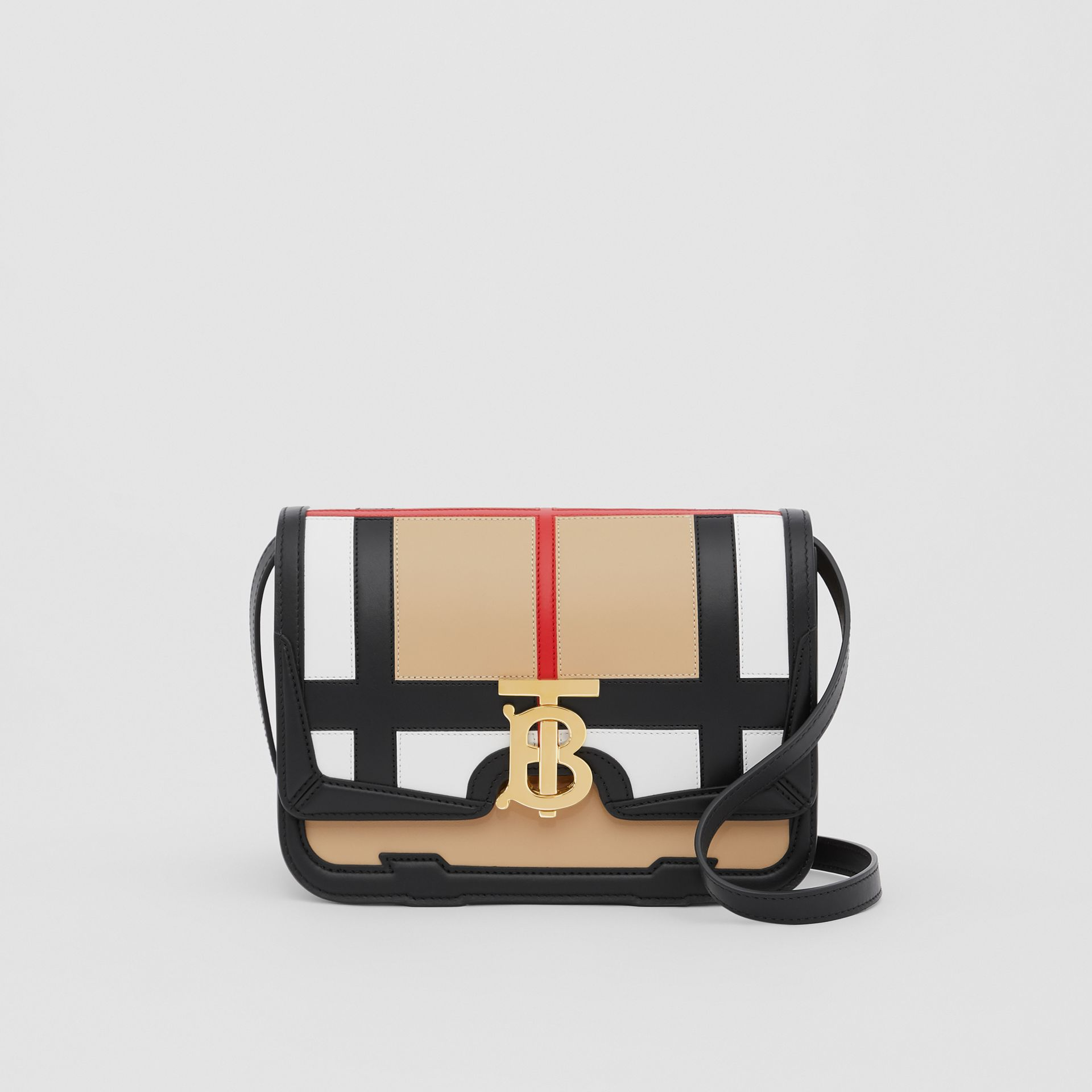 Small Check Appliqué Leather TB Bag in Black - Women | Burberry - gallery image 0