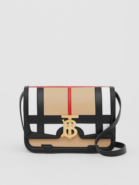 Small Check Appliqué Leather TB Bag in Black