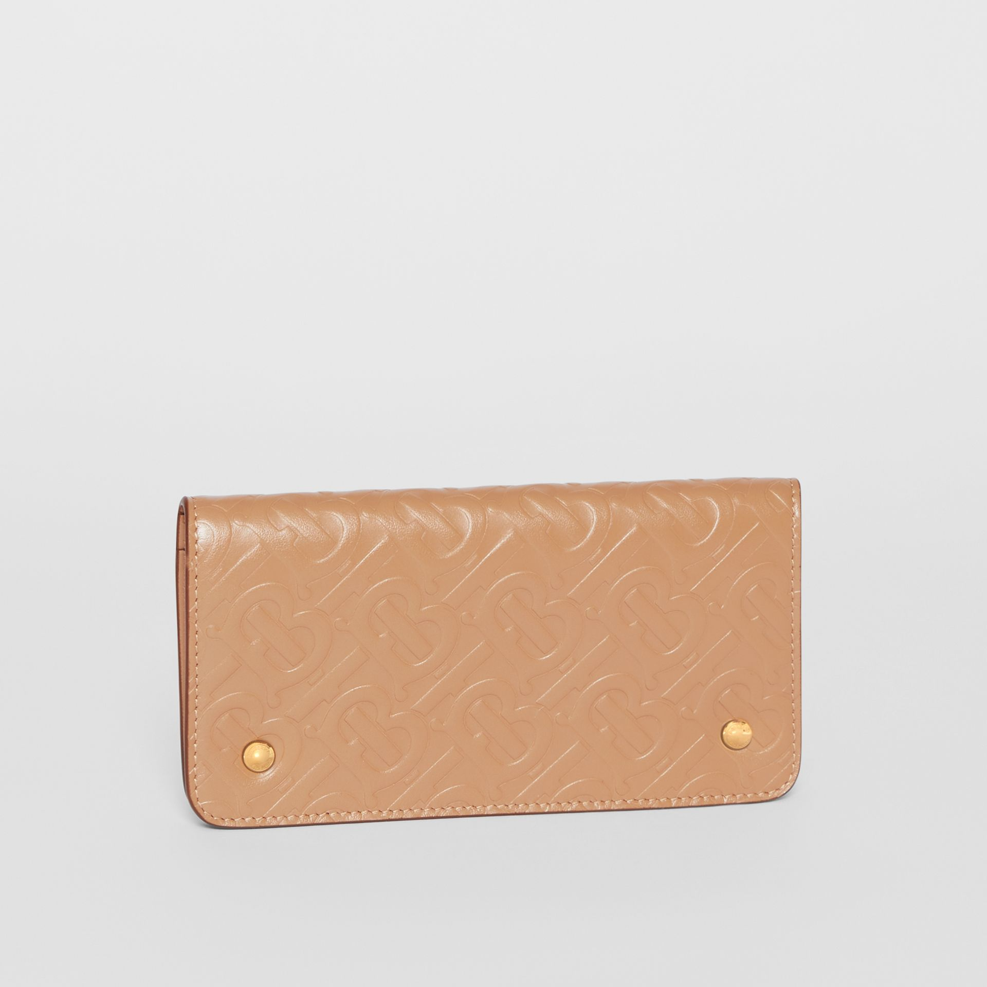 Monogram Leather Phone Wallet in Light Camel - Women | Burberry - gallery image 4