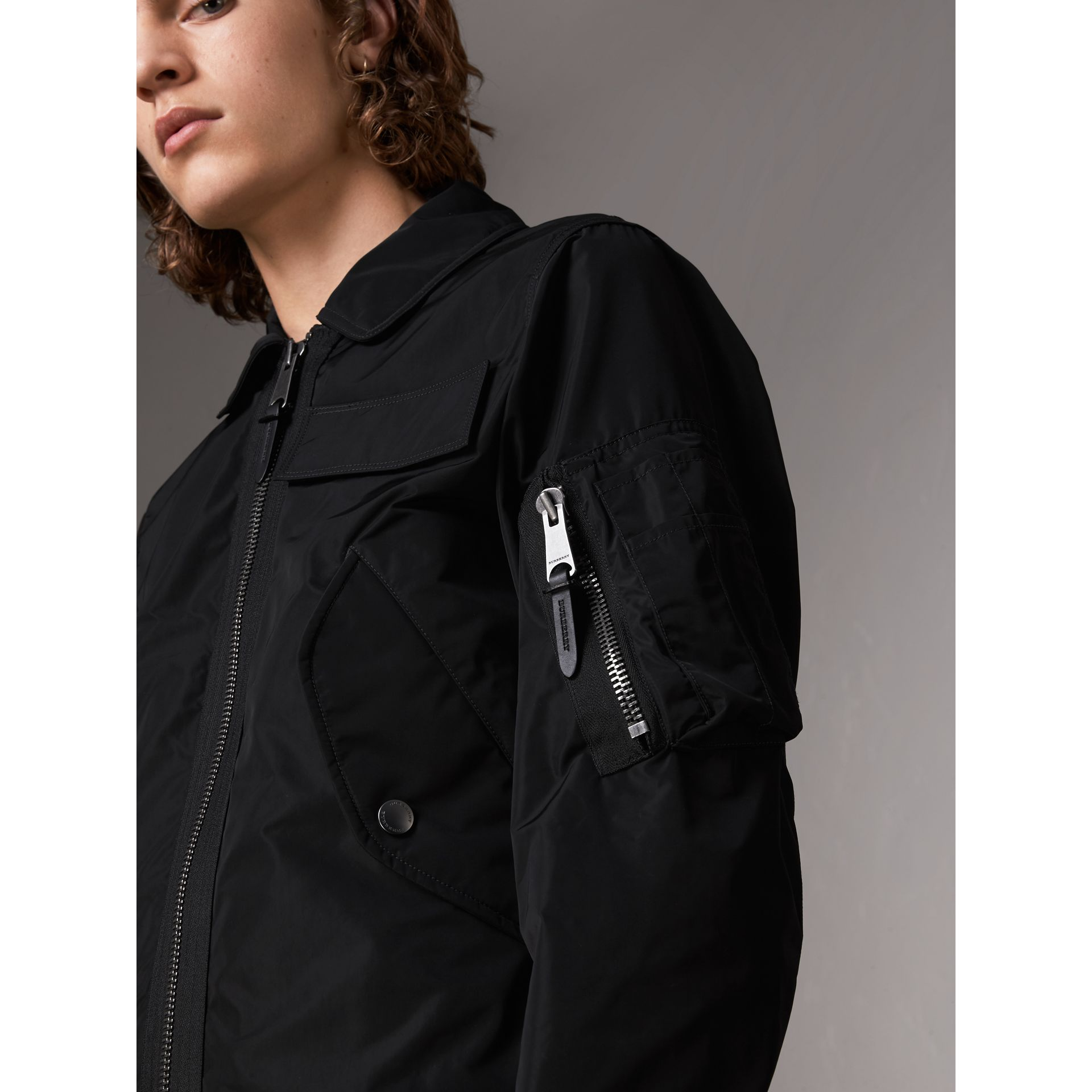 Showerproof Bomber Jacket in Black - Men | Burberry United States - gallery image 1