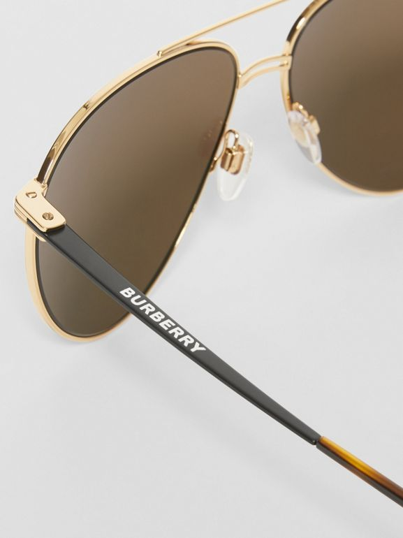 Top Bar Detail Pilot Sunglasses in Tortoiseshell - Men | Burberry Hong Kong - cell image 1