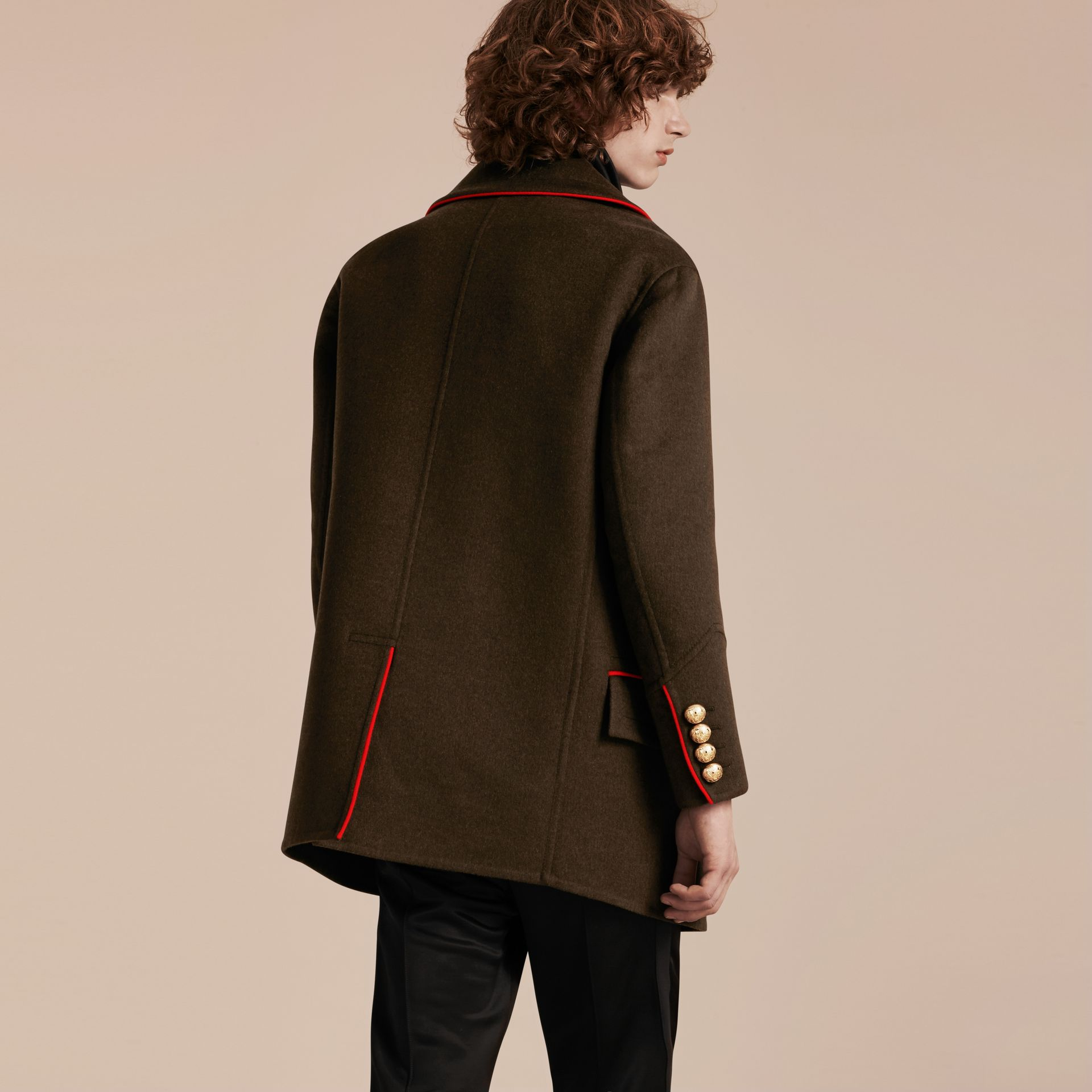 Dark military green Cashmere Wool Military Pea Coat - gallery image 2