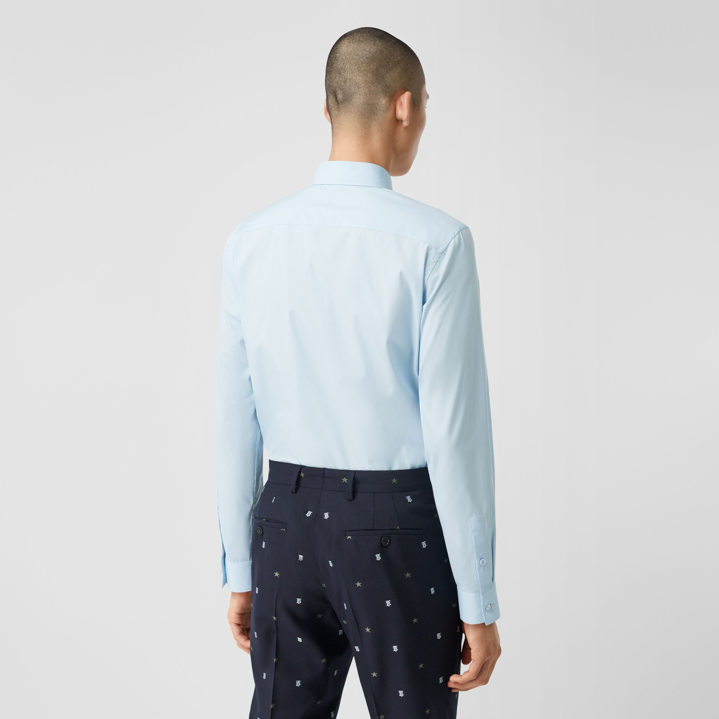 Slim Fit Stretch Cotton Poplin Shirt in Pale Blue - Men | Burberry Canada - 3