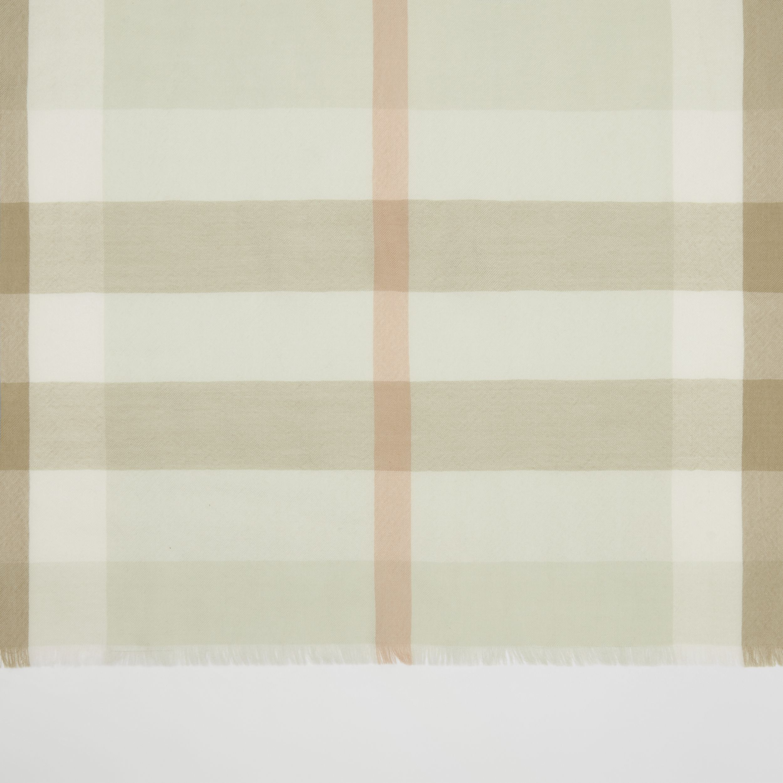 Lightweight Check Cashmere Scarf in Pale Apple Green | Burberry - 2