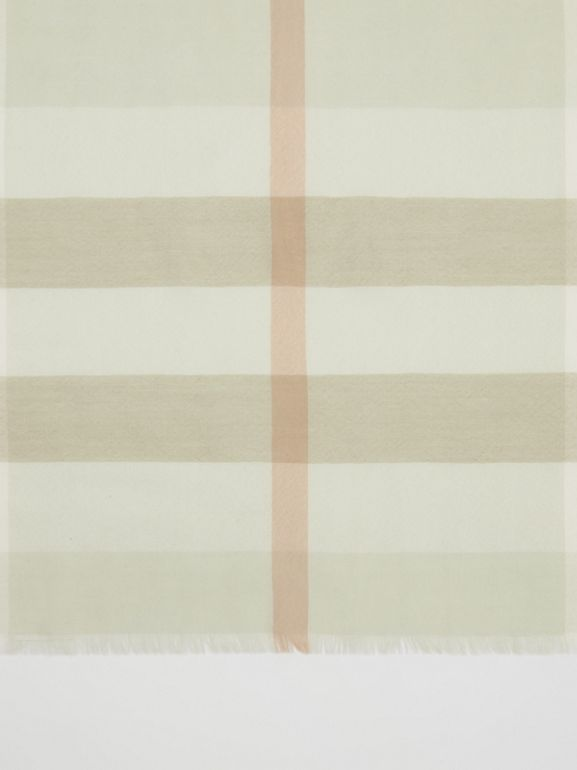 Lightweight Check Cashmere Scarf in Pale Apple Green | Burberry - cell image 1