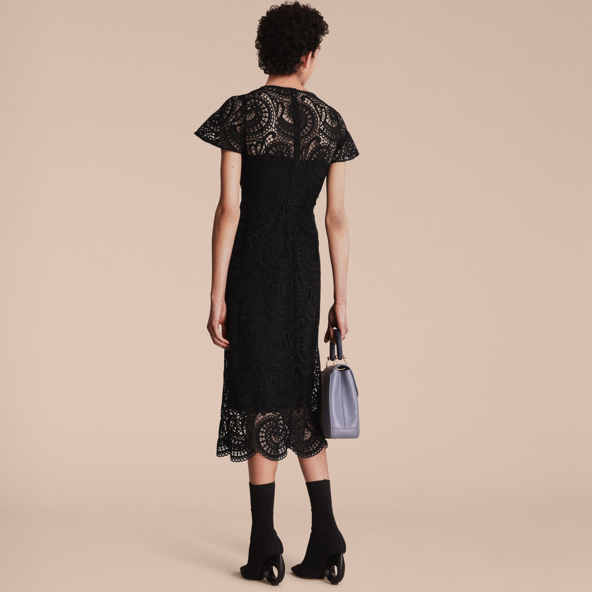 Flare-sleeve Macramé Lace Shift Dress - Women | Burberry - gallery image 3