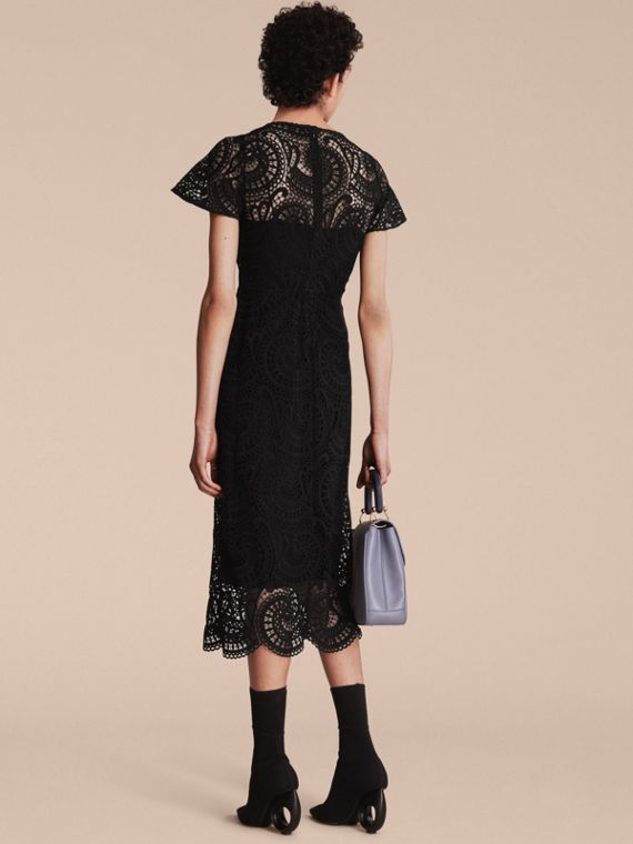 Flare-sleeve Macramé Lace Shift Dress - Women | Burberry - cell image 2