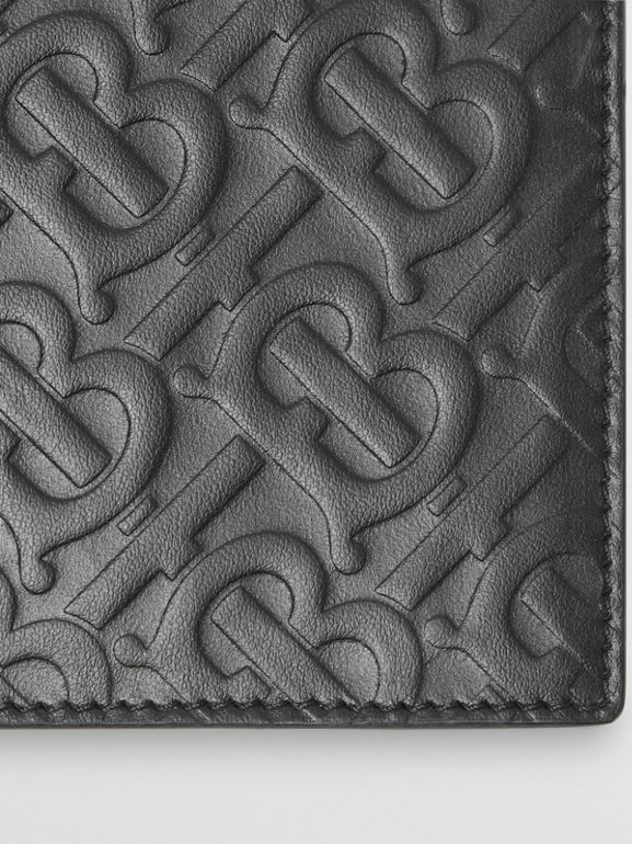 Monogram Leather International Bifold Wallet in Black | Burberry United States - cell image 1