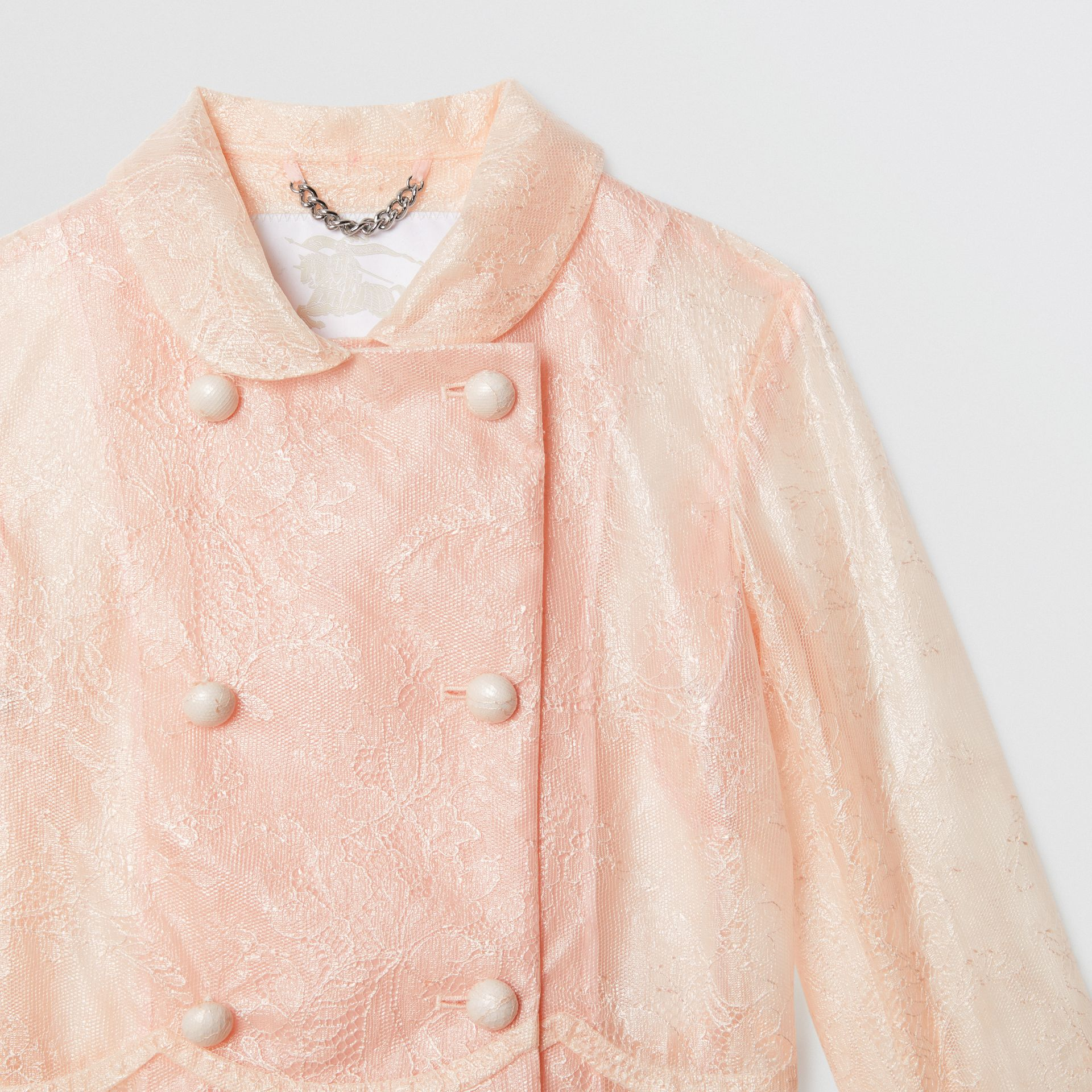 Laminated Lace Jacket in Pale Pink | Burberry United States - gallery image 4