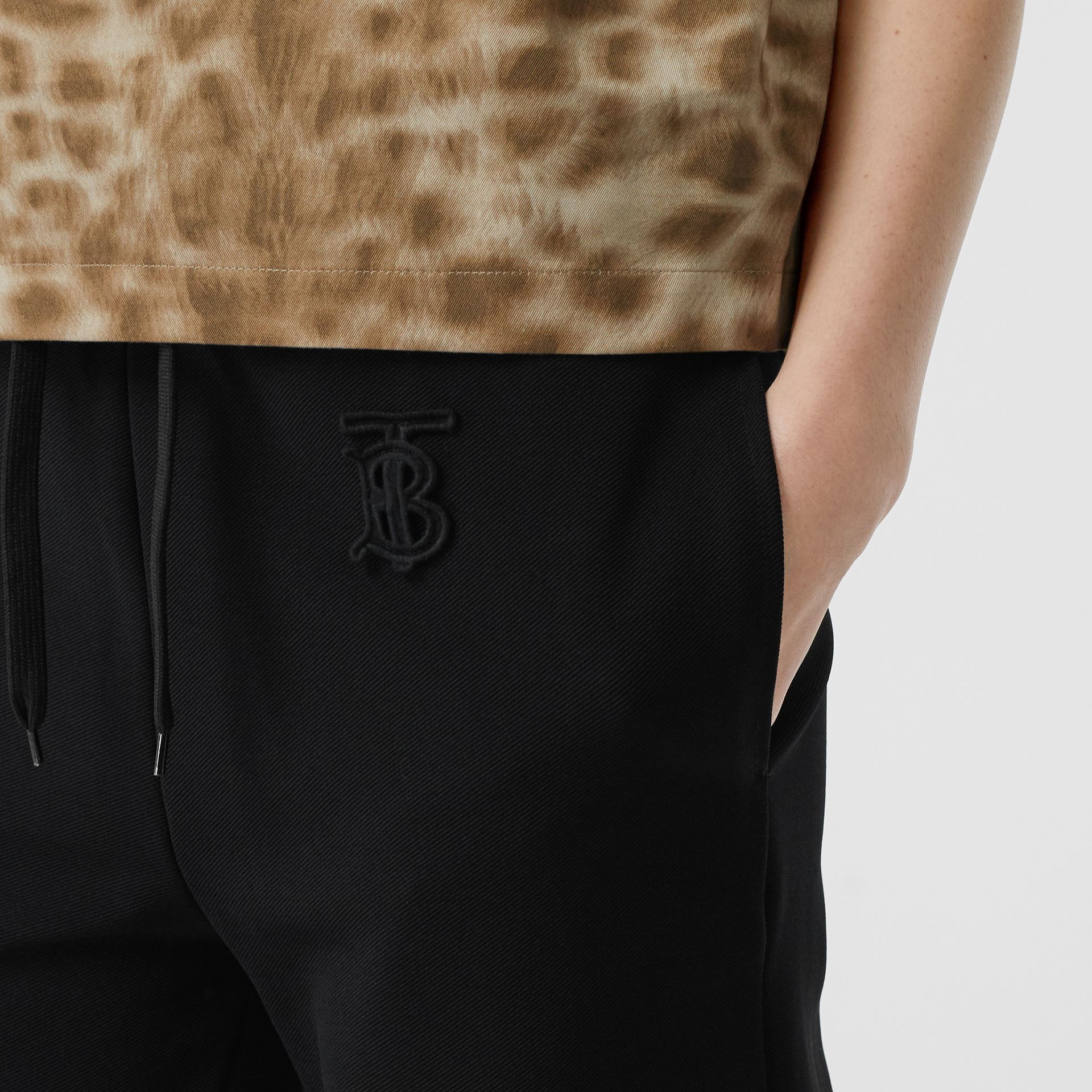 Monogram Motif Technical Trackpants in Black - Women | Burberry - gallery image 1