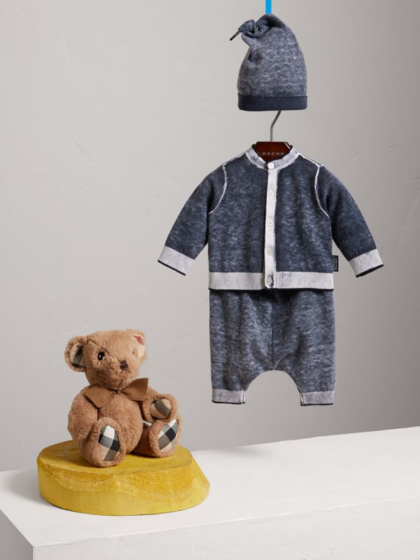 Cashmere Cotton Three-piece Baby Gift Set in Navy | Burberry United Kingdom - cell image 2