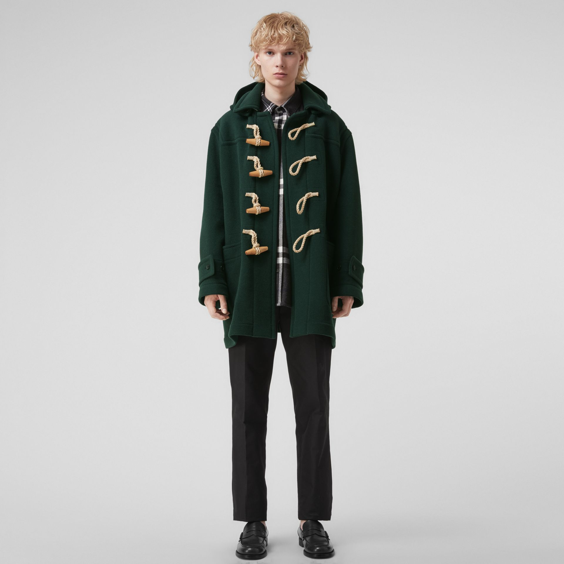 Gosha x Burberry Oversized Duffle Coat in Dark Forest Green | Burberry United Kingdom - gallery image 0