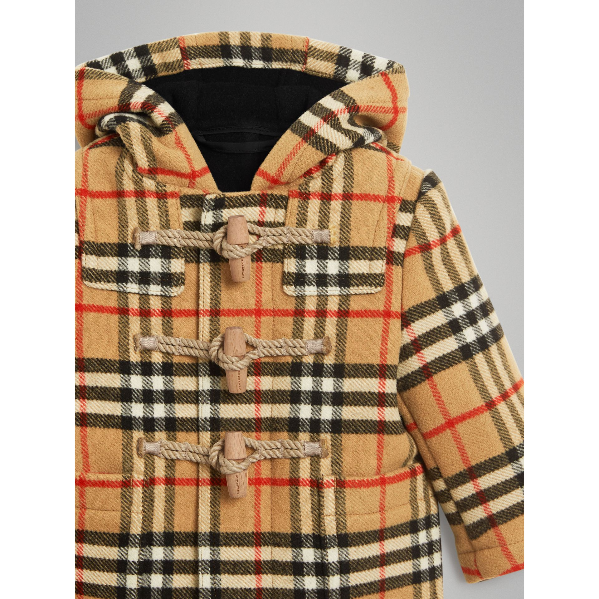 Vintage Check Wool Duffle Coat in Black | Burberry - gallery image 4