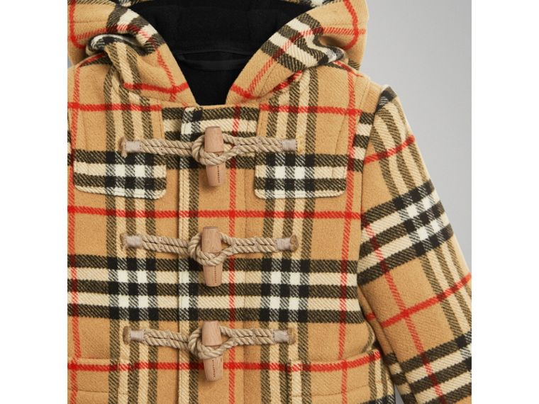 Vintage Check Wool Duffle Coat in Black | Burberry - cell image 4