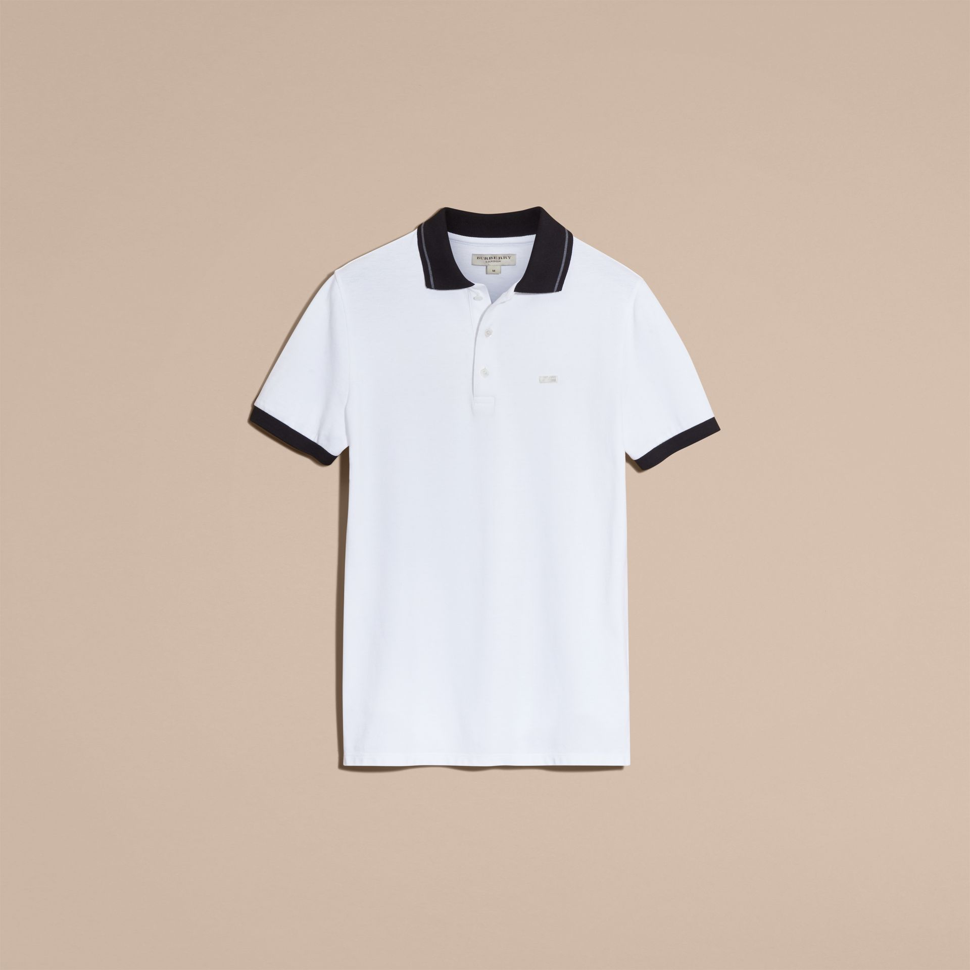 White/mid grey Contrast Trim Cotton Piqué Polo Shirt White/mid Grey - gallery image 4