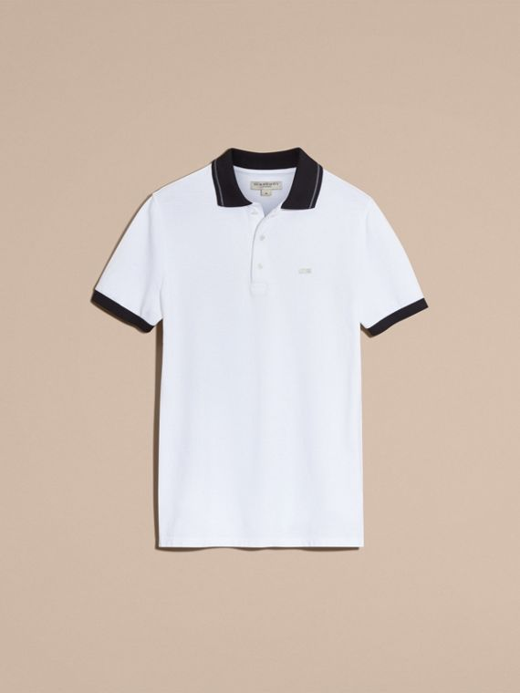 White/mid grey Contrast Trim Cotton Piqué Polo Shirt White/mid Grey - cell image 3