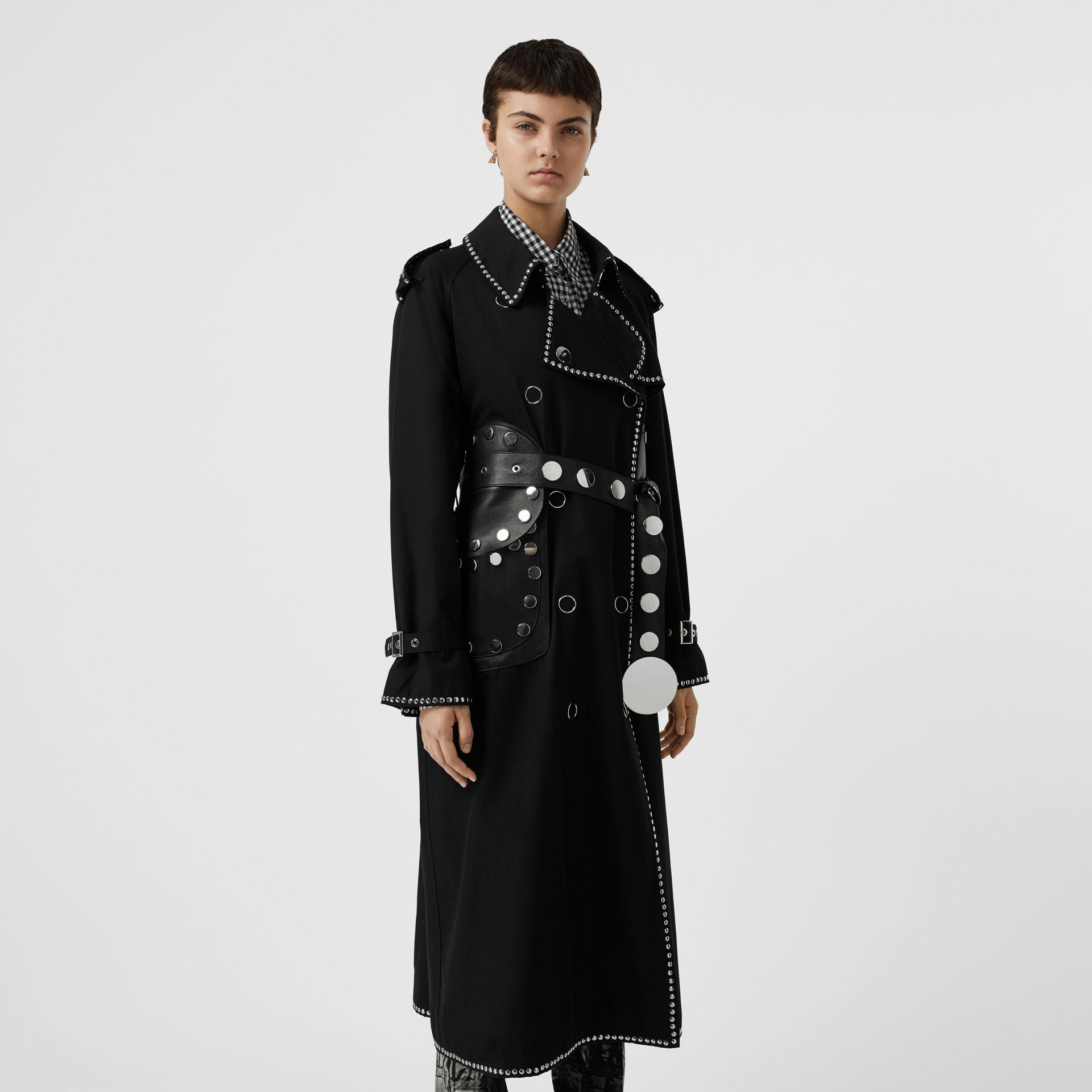 Lambskin Detail Studded Cotton Gabardine Trench Coat in Black - Women | Burberry Canada - gallery image 5