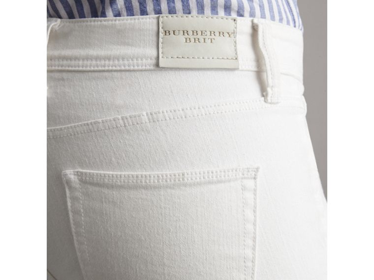 Skinny Fit Low-Rise Cropped Jeans in White - Women | Burberry - cell image 1