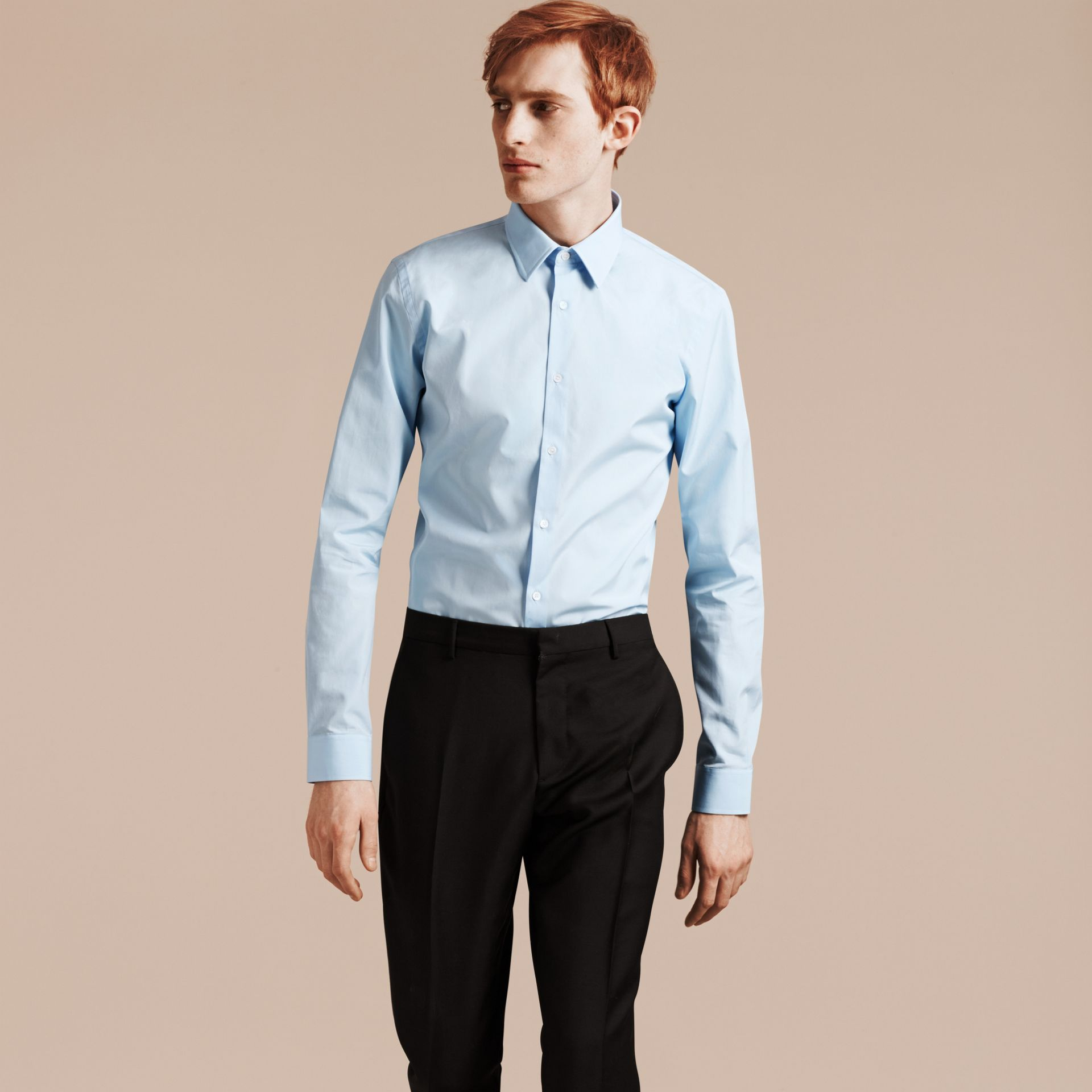Slim Fit Cotton Poplin Shirt in City Blue - Men | Burberry - gallery image 6