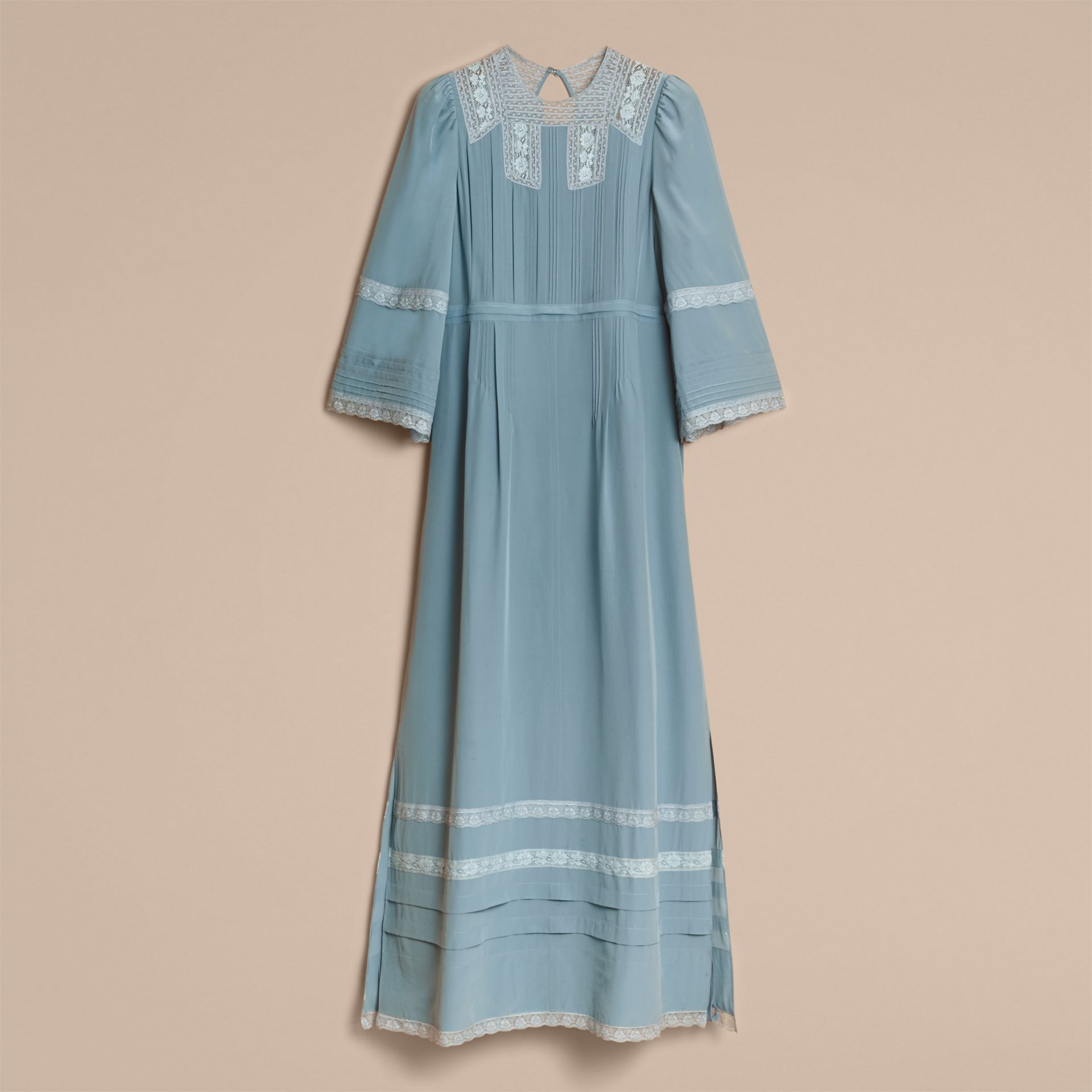 Lace and Pintuck Detail Silk Dress in Bright Mineral Blue - Women | Burberry - gallery image 3