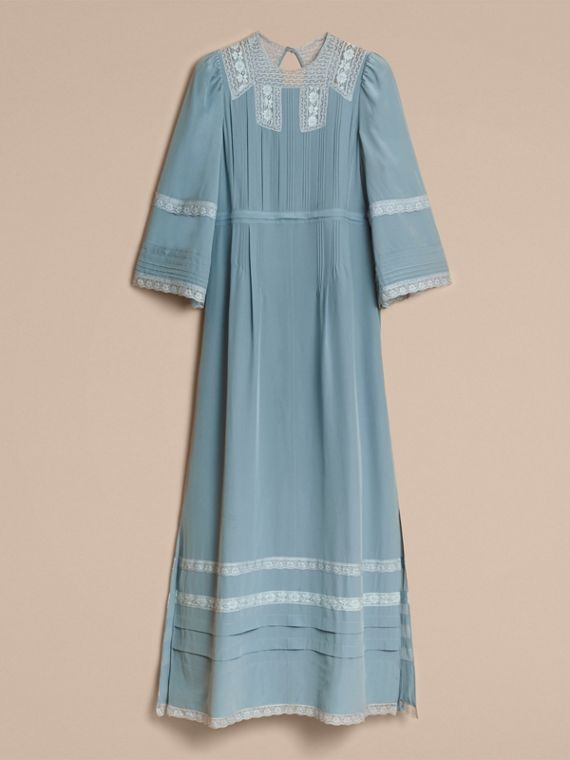 Lace and Pintuck Detail Silk Dress in Bright Mineral Blue - Women | Burberry - cell image 3