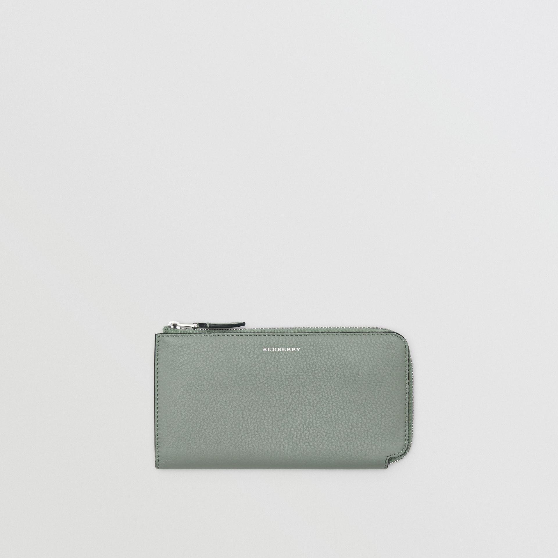 Two-tone Leather Ziparound Wallet and Coin Case in Grey Blue - Women | Burberry - gallery image 0