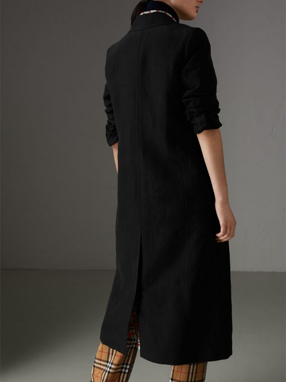 Linen Silk Tailored Coat in Black - Women | Burberry Canada - cell image 2