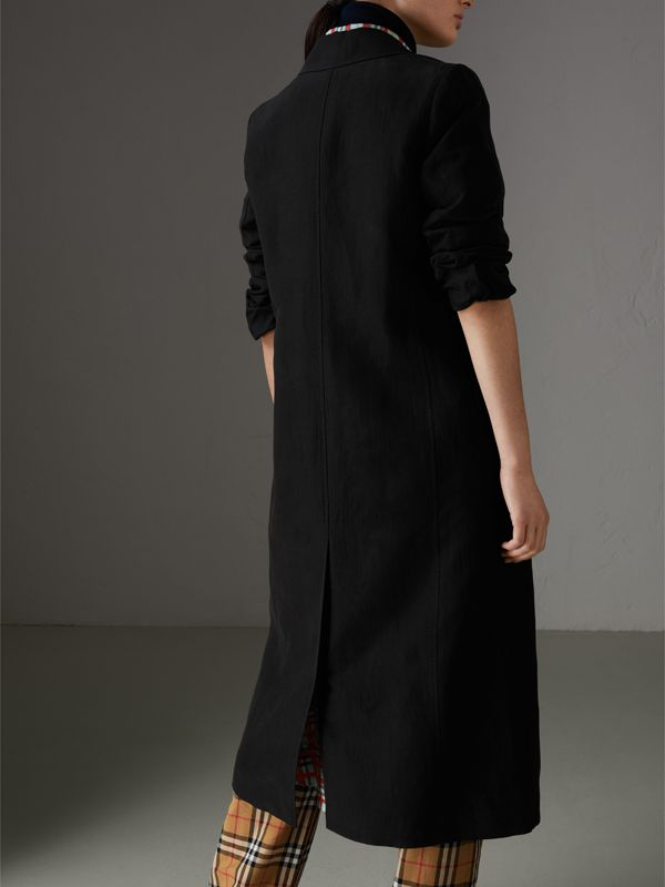 Linen Silk Tailored Coat in Black - Women | Burberry United Kingdom - cell image 2