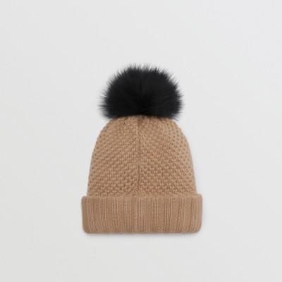 Burberry - Bonnet en laine et cachemire avec pompon en fourrure - 4