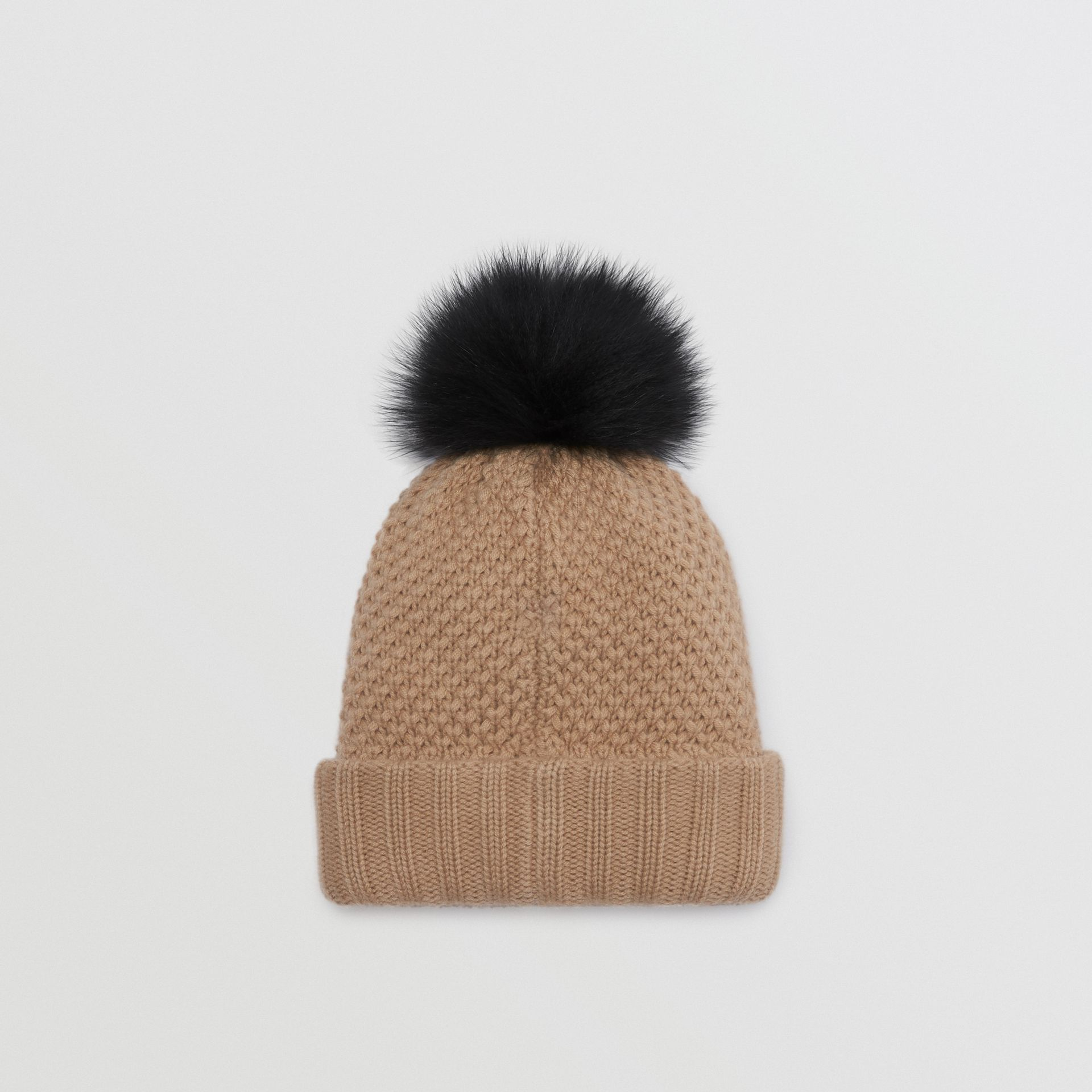 Fur Pom-Pom Wool Cashmere Beanie in Camel - Women | Burberry United States - gallery image 3