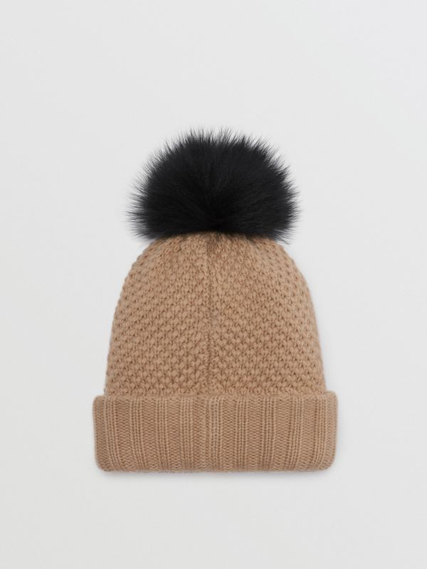 Fur Pom-Pom Wool Cashmere Beanie in Camel - Women | Burberry - cell image 3