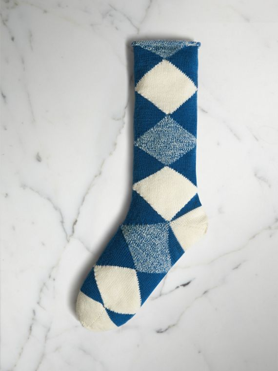 Argyle Knitted Wool Socks in Cobalt Blue