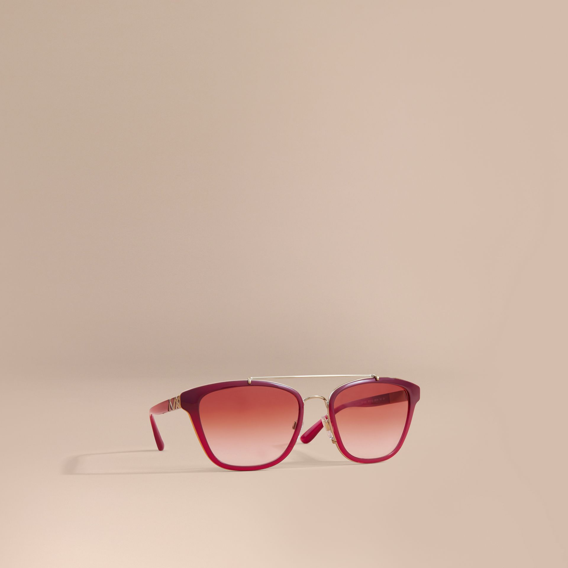 Top Bar Square Frame Sunglasses Red - gallery image 1