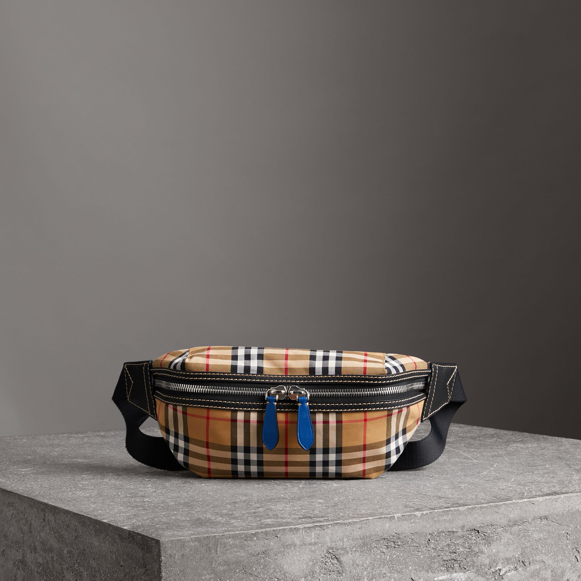 Medium Vintage Check Bum Bag in Canvas Blue - Men | Burberry - gallery image 0