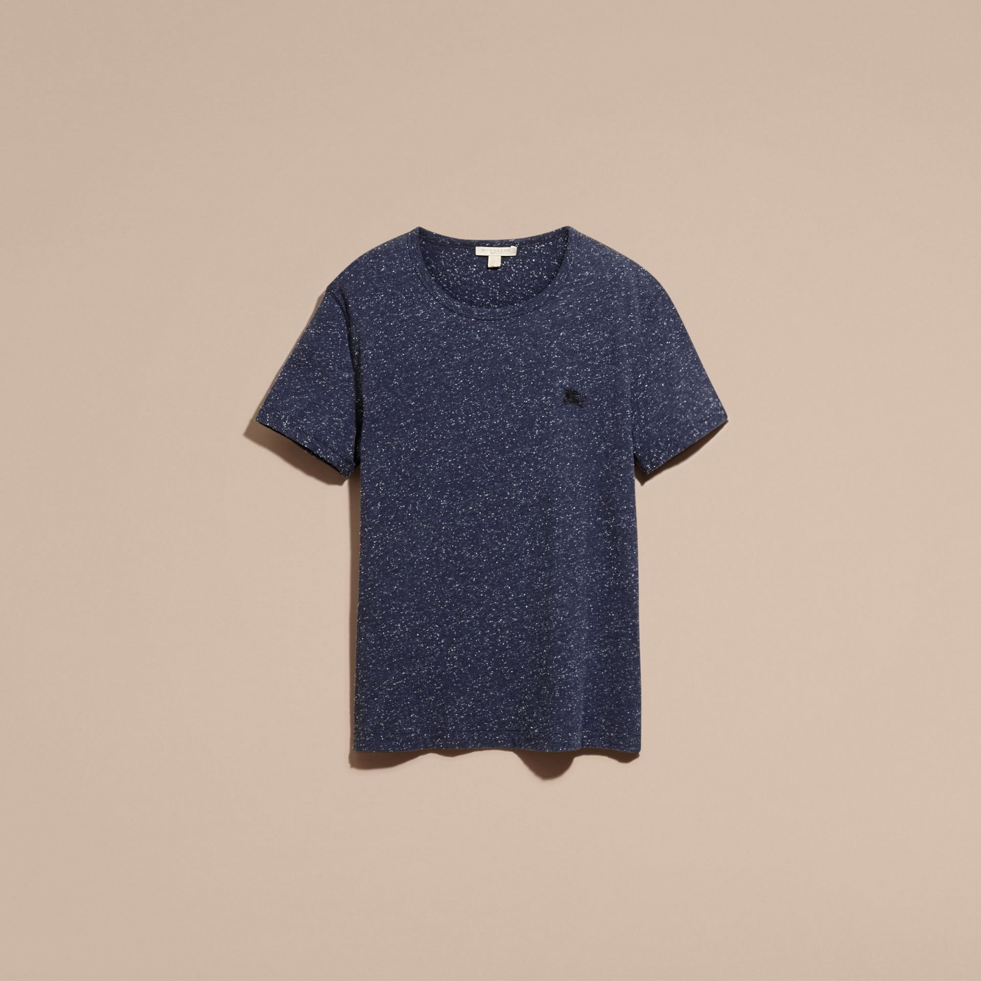 Dark navy Crew Neck Flecked Cotton Jersey T-Shirt Dark Navy - gallery image 4