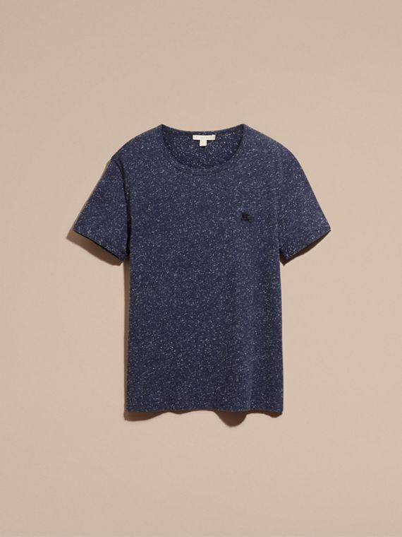 Dark navy Crew Neck Flecked Cotton Jersey T-Shirt Dark Navy - cell image 3