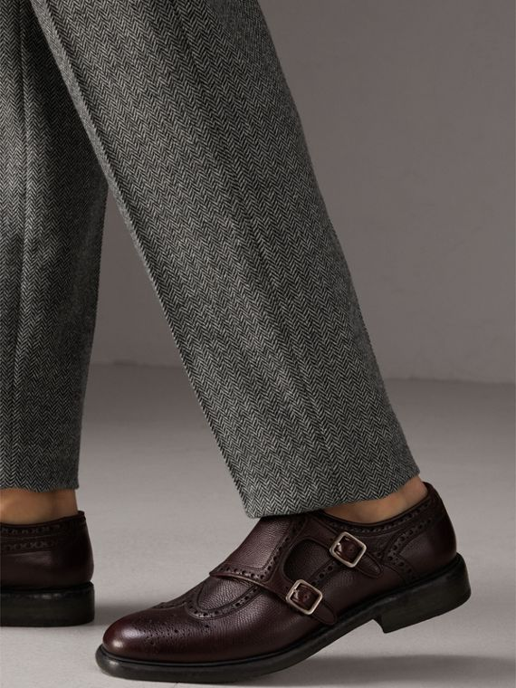 Brogue Detail Textured Leather Monk Shoes in Burgundy Red - Men | Burberry - cell image 2