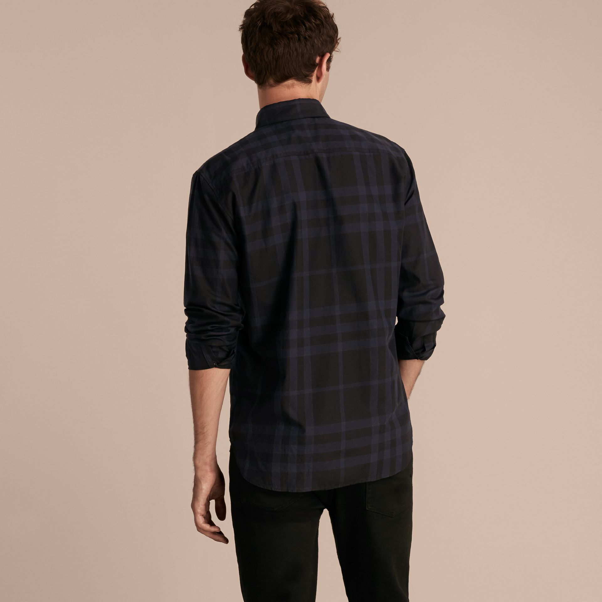 Bright navy Check Cotton Shirt - gallery image 3